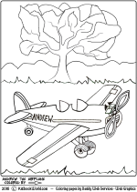 Andrew the Airplane Coloring Page for kids.