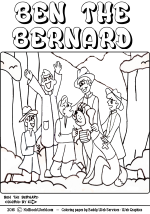 Ben the Bernard free coloring page for kids.