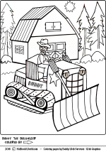 Buddy The Bulldozer coloring page for kids.