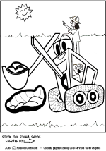 Stevie the Steam Shovel coloring page for kids.