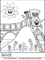 Traci the Train coloring page for kids.